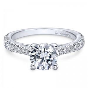 White 14 Karat Semi Mount Ring With 18=0.55Tw Round G/H Si1-2 Diamonds