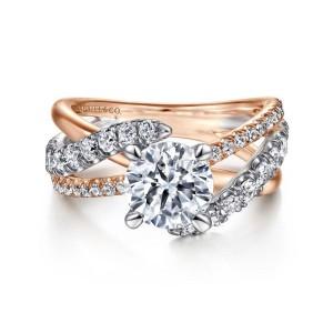 White/Rose 14 Karat Semi Mount Ring With 40=0.78Tw Round G/H Si1-2 Diamonds