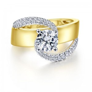 Yellow/White 14 Karat Semi Mount Ring With 0.41Tw Round Diamonds