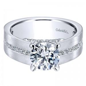White 14 Karat Semi Mount Ring With 0.53Tw Round G/H Si1-2 Diamonds