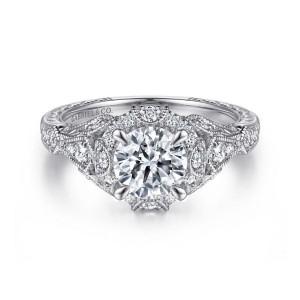 White 14 Karat Semi Mount Ring With 36=0.38Tw Round G/H Si1-2 Diamonds