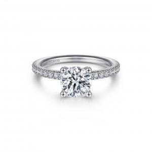 White 14 Karat Semi Mount Ring With 52=0.29Tw Round G/H Si1-2 Diamonds