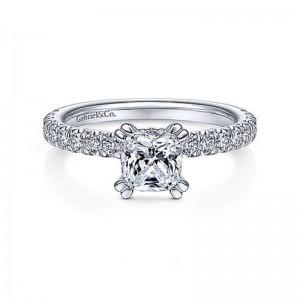 White 14 Karat Semi Mount Ring With 0.54Tw Round G/H Si1-2 Diamonds
