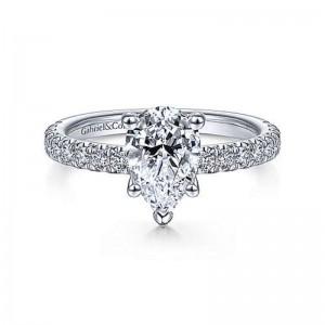 White 14 Karat Semi Ring With 0.58Tw Round G/H Si1-2 Diamonds