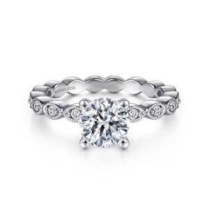 White 14 Karat Semi Mount Ring With 42=0.29Tw Round G/H Si1-2 Diamonds
