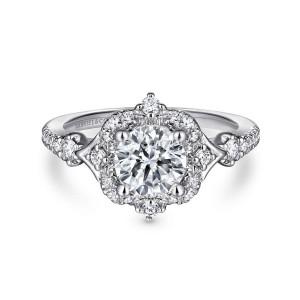 White 14 Karat Semi Mount Ring With 28=0.35Tw Round G/H Si1-2 Diamonds