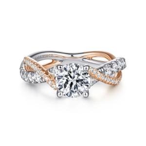 White & Rose14 Karat Semi Mount Ring With 52=0.42Tw Round G/H Si1-2 Diamonds