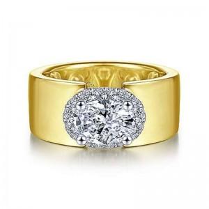 Yellow 14 Karat Semi Mount Ring With 0.21Tw Round G/H Si1-2 Diamonds