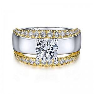 Yellow/White 14 Karat Semi Mount Ring With 0.61Tw Round G/H Si1-2 Diamonds