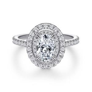 White 14 Karat Semi Mount Ring With 0.57Tw Round G/H Si1-2 Diamonds