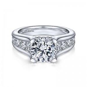 White 14 Karat Semi Mount Ring With 1.46Tw Round G/H Si1-2 Diamonds