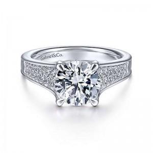 White 14 Karat Semi Mount Ring With 0.38Tw Round G/H Si1-2 Diamonds