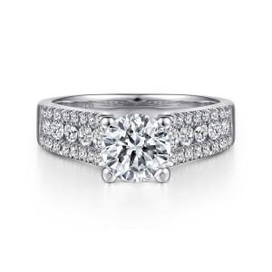 White 14 Karat Semi Mount Ring With 42=0.50Tw Round G/H Si1-2 Diamonds