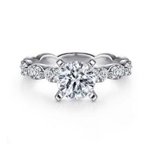 White 14 Karat Semi Mount Ring With 12=0.46Tw Round G/H Si1-2 Diamonds
