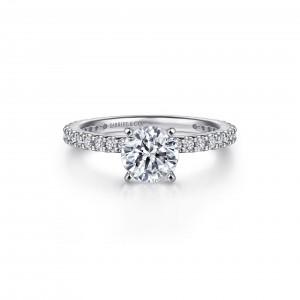 White 14 Karat Semi Mount Ring With 28=0.37Tw Round G/H Si1-2 Diamonds