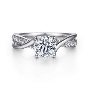 White 14 Karat Semi Mount Ring With 14=0.14Tw Round G/H Si1-2 Diamonds