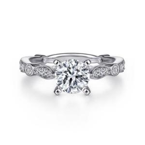 White 14 Karat Semi Mount Ring With 28=0.36Tw Round G/H Si1-2 Diamonds