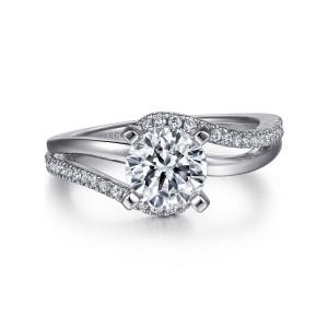 White 14 Karat Semi Mount Ring With 40=0.21Tw Round G/H Si1-2 Diamonds