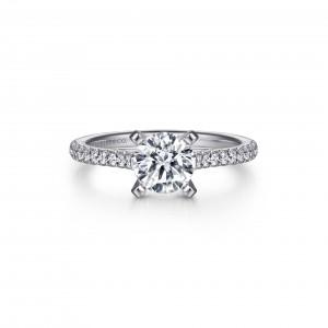 White 14 Karat Semi Mount Ring With 20=0.24Tw Round G/H Si1-2 Diamonds