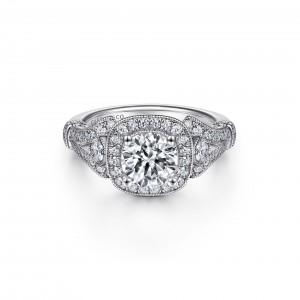 White 14 Karat Semi Mount Ring With 64=0.43Tw Round G/H Si1-2 Diamonds