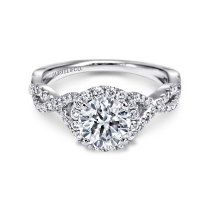 White 14 Karat Semi Mount Ring With 64=0.41Tw Round G/H Si1-2 Diamonds