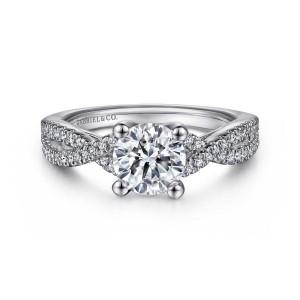 White 14 Karat Semi Mount Ring With 62=0.26Tw Round G/H Si1-2 Diamonds