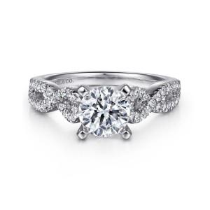 White 14 Karat Semi Mount Ring With 50=0.37Tw Round G/H Si1-2 Diamonds