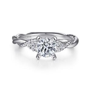 White 14 Karat Semi Mount Ring With 6=0.13Tw Round G/H Si1-2 Diamonds