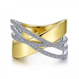 Yellow/White 14 Karat Fashion Ring With 0.46Tw Round Diamonds