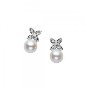 White 18 Karat Earrings Akoya A+ 5.5Mm 8=.04Ct Dia