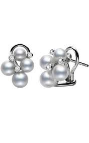 White 18 Karat Cluster Earrings 8 P= 4.75-6Mm Akoya A+ 2 Pearls Each Of: 4.75Mm 5.25Mm 5.5Mm 6Mm .09Ct Dia