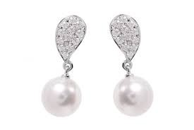 White 18 Karat Drop Earrings With 2=Akoya 7.75Mm Pearls And 24=0.22Tw Round Diamonds Style Name: A+