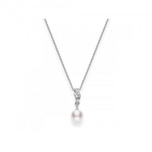 White 18 Karat Pendant With 9=0.15Tw Round Diamonds And One 8.00X8.50Mm Round Pearl A+ Quality