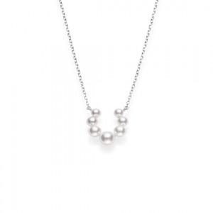 White 18 Karat Pendant Akoya A+ 3.5Mm- 5.5Mm =7 Pearls 16 -18