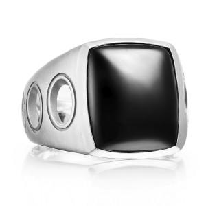 Vented Gemstone Ring featuring Black Onyx