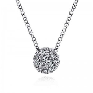 White 14 Karat Pendant With 0.18Tw Round Si1-2 Diamonds