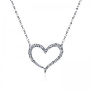 14 Karat Pave Heart Pendant With 36=0.47Tw Round Si1-2 Diamonds