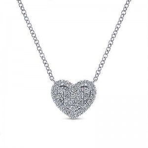 White 14 Karat Heart Pendant With 0.25Tw Round Si1-2 Diamonds