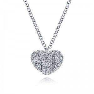 White 14 Karat Pave Heart Pendant With 0.38Tw Round Si1-2 Diamonds