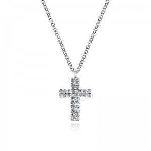 White 14 Karat Cross Pendant With 0.18Tw Round Si1-2 Diamonds