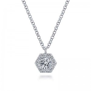White 14 Karat Pendant With 0.25Tw Round Si1-2 Diamonds