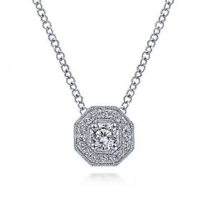 White 14 Karat Pendant With 0.22Tw Round Si1-2 Diamonds