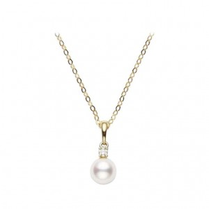 Yellow 18 Karat Pendant With One 6.00X6.50Mm Round Pearl And One .03Ct R Diamond