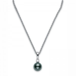 White 18 Pendant One Pearl 9Mm .10Ct Diamond A+ Quality