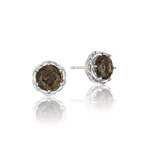 Crescent Crown Studs featuring Smokey Quartz