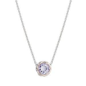 Crescent Station Necklace featuring Rose Amethyst