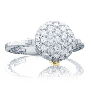Pavé Dew Drop Ring in Silver with Diamonds