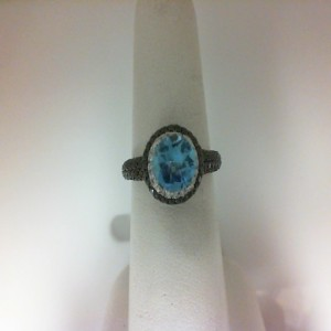 White 14 Karat Fashion Ring With 183=1.06Tw Round Diamonds And One Round Blue Topaz