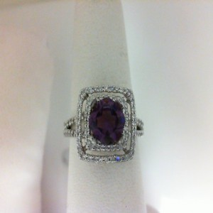 White 14 Karat Fashion Ring With 104=0.40Tw R Diamonds And One 0.89Ct Cushion Cut Amethyst