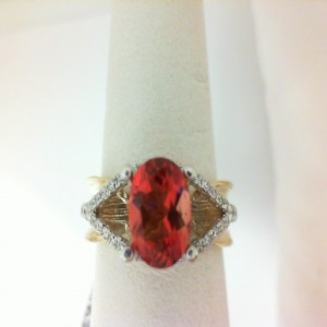 Two-Tone 14 Karat Ring With 44=0.38Tw Round Diamonds And One Red Orange Labradorite 1.09 Ct Tw